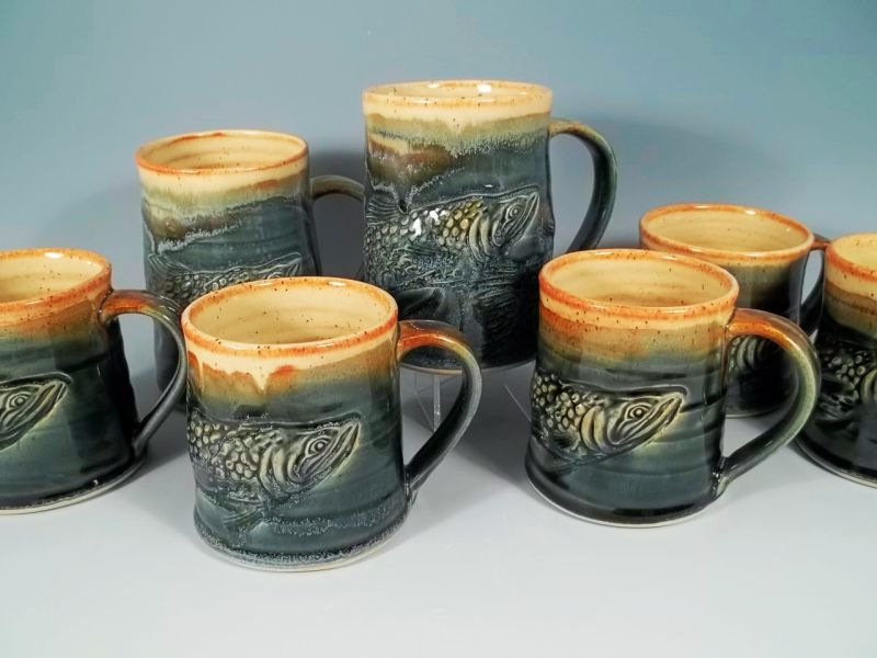 Sorrento Stoneware Salmon Mugs